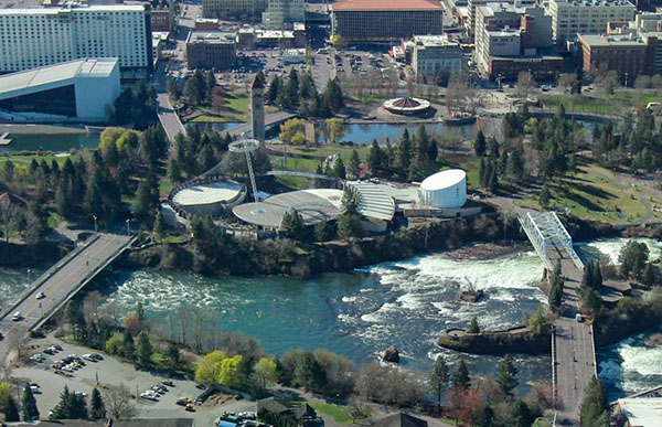 Aerial Shot of Downtown Spokane