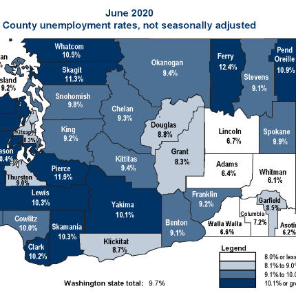 County unemployment rates for 2020