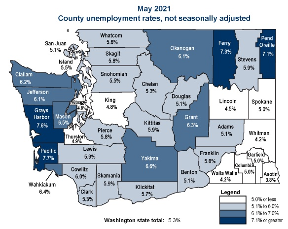 Unemployment by County Rates graphic