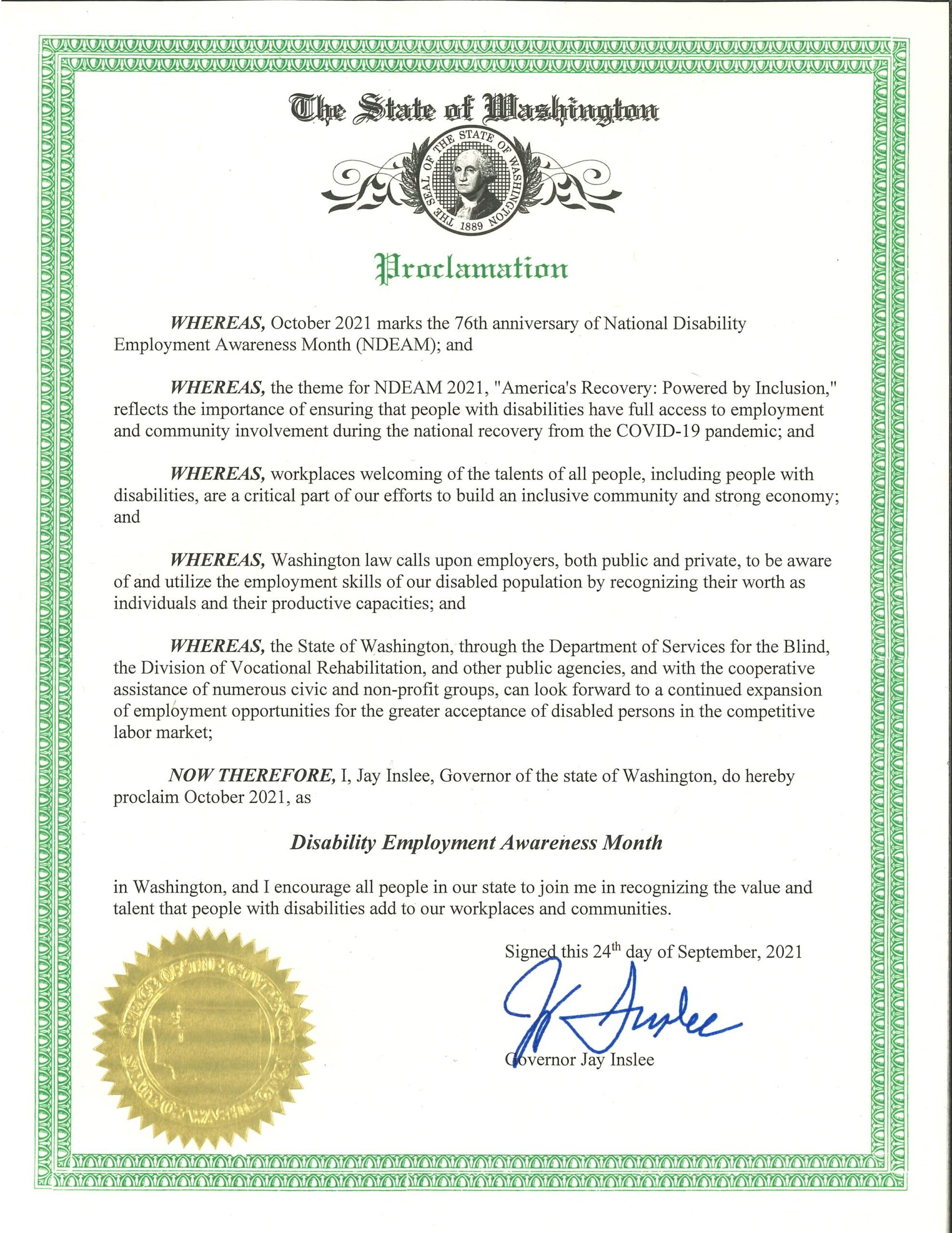 State of Washington Proclamation - Disability Employment Awareness Month, October