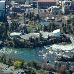 Aerial Shot of Downtown Spokane
